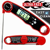 DIGITAL INSTANT READ Meat Thermometer - Keyna WATERPROOF Food Cooking Kitchen Tool with Backlight LCD & Fridge Magnet - SUPER FAST ELECTRIC Meat Thermometer Probe for BBQ Grilling Smoker Baking Frying