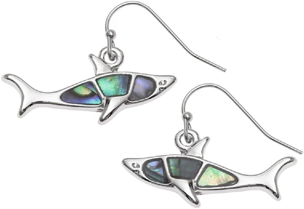 Liavy's Great White Shark Fashionable Earrings - Abalone Paua Shell - Fish Hook - Unique Gift and Souvenir