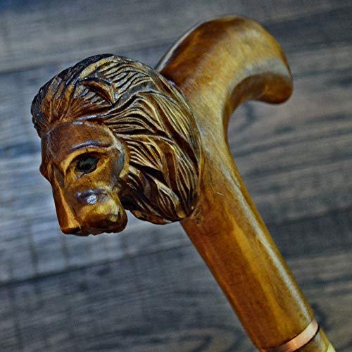 (oleksandr.victory Canes Walking Sticks Wood Reeds Wooden Hand-Carved Carving Handmade Cane Stick Accessories (Lion Handle, 36)