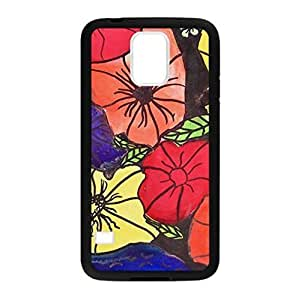 Abstract Flower in Three Original Colors Picture Made for Samsung Galaxy S5 Only Case Cover Plastic and TPU
