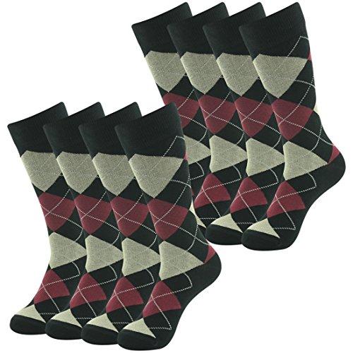 Casual Wedding Dress Gift Socks, SUTTOS Men's Elite Brwon Blue Argyle Plaids Nordic Fashion Patterned Cotton Warm All Season Quarter Mid Calf Long Tube Sock,8 (Women Superheroes Fancy Dress)
