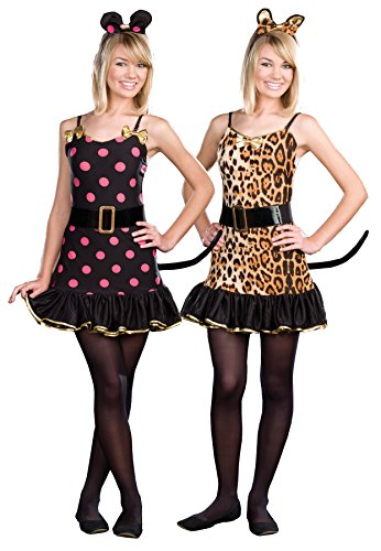 [UHC Teen Girl's Animal Print When The Cats Away Reversible Halloween Costume, Teen M (7-9)] (Ultimate Party Animal Halloween Costume)