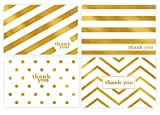 Gold Foil Thank You Cards Bulk 48 Thank You Notes w/Stickers & White Envelopes - 4x6 Blank Note Cards - Perfect for Weddings, Bridal Showers, Graduation, and Baby Showers