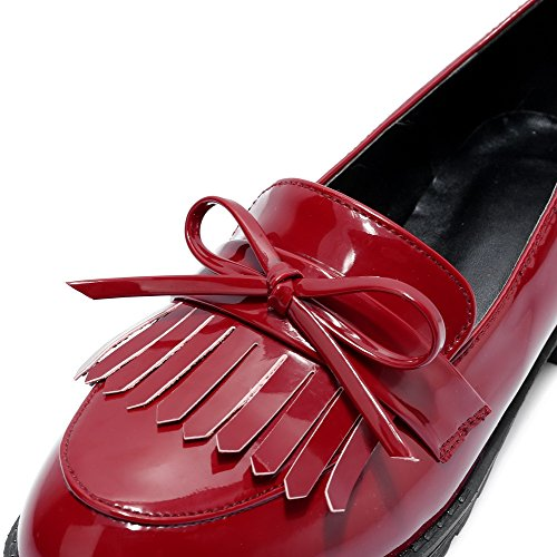 Odomolor Women's Solid PU Low-Heels Round-Toe Pull-On Pumps-Shoes, Red, 35