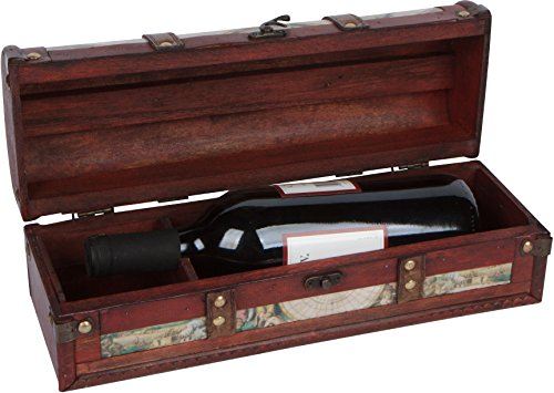 13.8' Old World Map Design Wine Box - Wooden with Leather Handle and Accents - Holds 1 Bottle - By Trademark Innovations