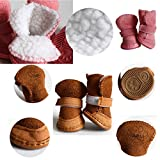 Plush Cotton Puppy Dog Shoes Pet Snow Booties Boots Warm Paw Protectors with Rugged Anti-Slip Sole 4Pcs