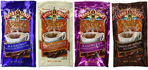 Land O Lakes Cocoa Classics Mix 4 Flavor Sampler Bundle, (3) each: Hazelnut, French Vanilla, Raspberry, Chocolate Supreme (1.25 Ounces)