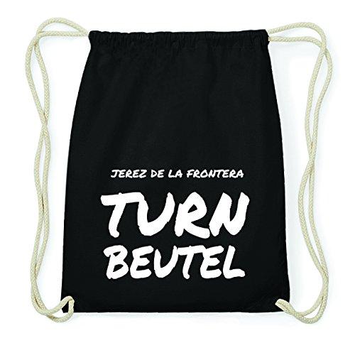 JOllify JEREZ DE LA FRONTERA Hipster Turnbeutel Tasche Rucksack aus Baumwolle - Farbe: schwarz Design: Turnbeutel jeJZvA8zQ