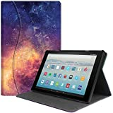 Fintie Case for All-New Amazon Fire HD 10 Tablet (7th Generation, 2017 Release) - [Sleek Shield] Premium PU Leather Slim Fit Multi Angle Stand Cover with Pocket Auto Wake/Sleep, Galaxy