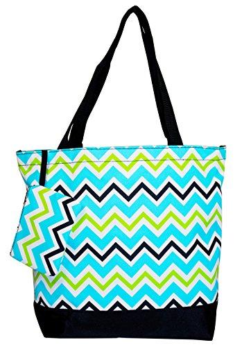 Personalized Tote Overnight Bag (Ever Moda Chevron Tote Bag (Blue))