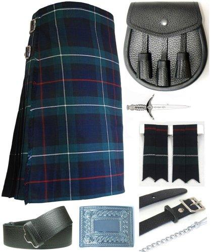 Mens Mackenzie Modern Tartan 7 Piece Casual Kilt Outfit Size: 42'' - 44'' by Kilt Society