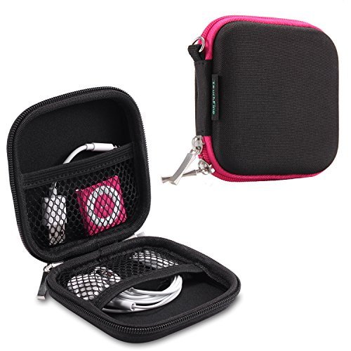 TouchFine (2Pack) Hard EVA Carrying Case for iPod/MP3/Earphones/Usb Cable 2 Mesh Pockets Storage bags-Black+Black/Hot Pink