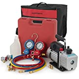digital ac manifold gauge set - ARKSEN 4CFM Single Stage 1/3-HP Vacuum Pump A/C HVAC Manifold Gauge for (R134a) Carrying Tote, Set