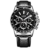 Mens Casual Watches,Stainless Steel Case Classic Calendar Date Window Water Resistant Comfortable Leather Band Black