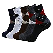 Amazon Lightning Deal 84% claimed: Pack of 5 Mens Thick Warm Casual Wool Crew Winter Socks, Mix Color1(5 pack), One Size