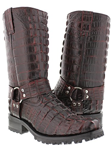 El Presidente - Men's Black Cherry Full Crocodile Tail Leather Biker Motorcycle Boots 10.5 2E US