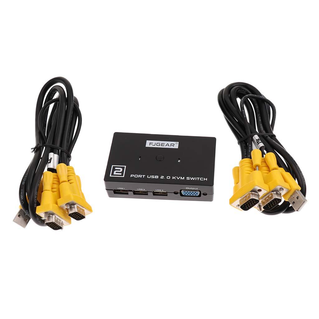 Baosity 2 Ports USB KVM Switcher Audio Video Switcher 19201440 with LED Indicator