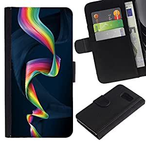 Planetar® Modelo colorido cuero carpeta tirón caso cubierta piel Holster Funda protección Para Samsung Galaxy S6 / SM-G920 ( Colorful Spiral )