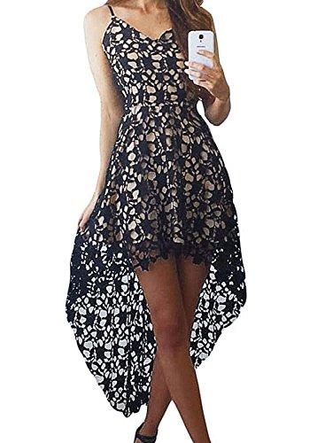 AlvaQ Women's Summer Sexy V Neck Bridesmaid Lace Hollow High Low Casual Midi Dress Formal Wedding XXL Black (Dollar Dresses 20)