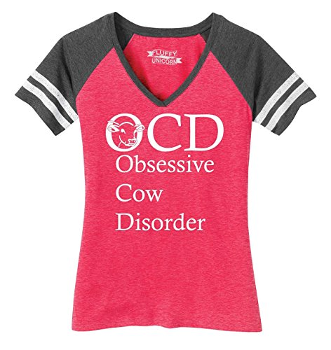 Comical Shirt Ladies Game V-Neck Tee OCD Obsessive Cow Disorder Heathered Watermelon/Heathered Charcoal (Cow Womens Pink T-shirt)