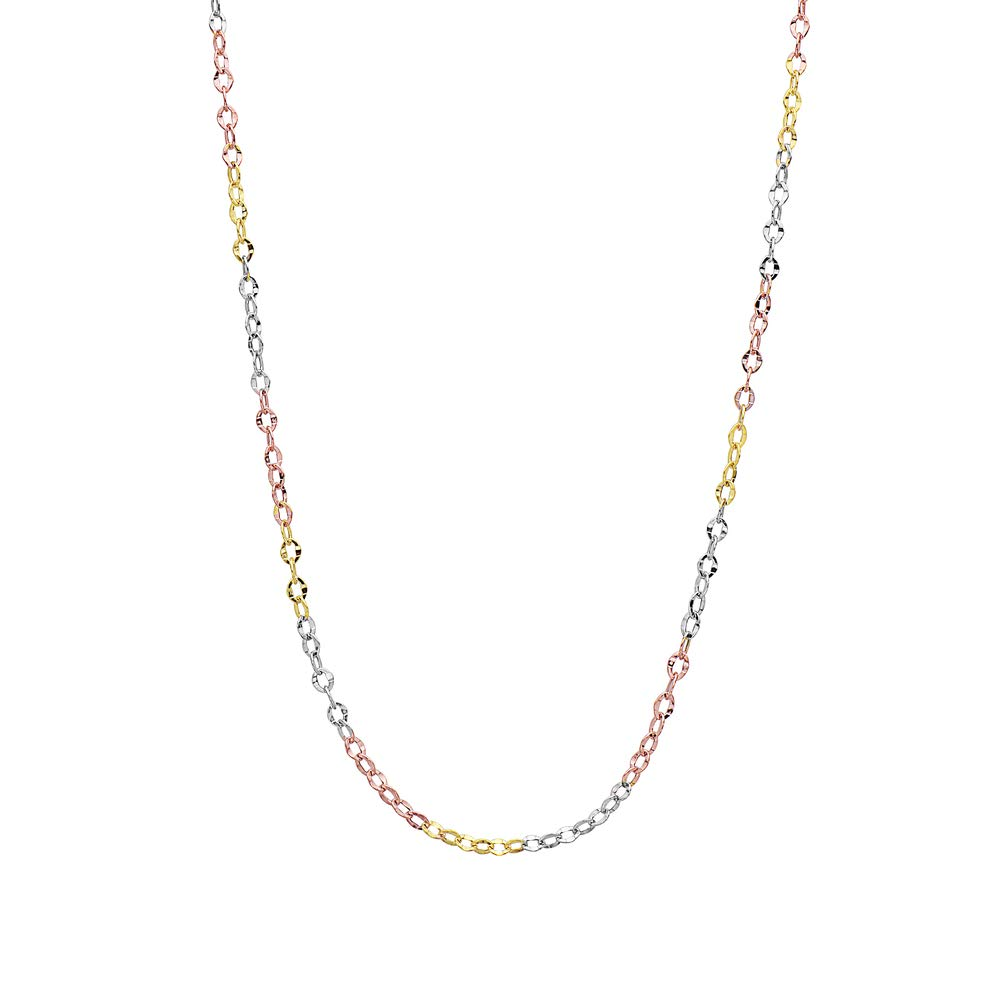 14K 3 Color Gold 2.5mm Diamond Cut Anchor/Cable Chain Necklace -Made in Italy