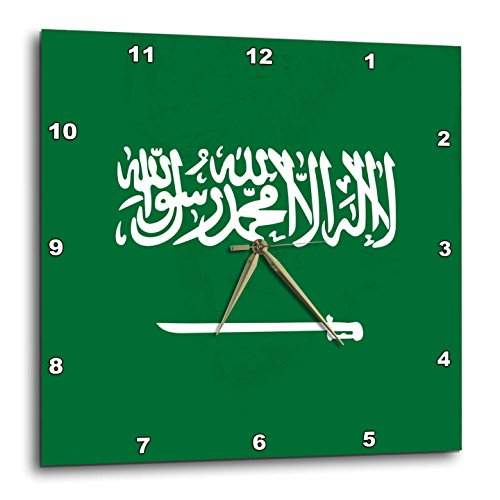 3dRose dpp_158422_2 Flag of Saudi Arabia-Arabian World-Green with White Arabic Text and Sword-Islamic Shahada-Wall Clock, 13 by 13-Inch by 3dRose