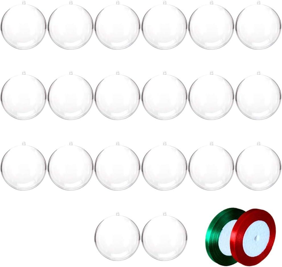 20 pcs 8cm Bolas de Navidad Transparente de Plástico Acrílico Rellenable 80mm Bolas Navidad Plástico Transparente para Llenado de Decoraciones de Árboles de Navidad Bodas Bautismo