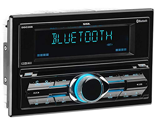 Sound Storm DDC28B Car Receiver - Bluetooth / CD / MP3 / USB, AM/FM Radio, Detachable Front Panel (2001 Toyota Sequoia Cd Player)
