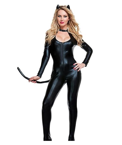 YOUJIA Donna Catwoman Costumi di Carnevale Catsuit con coda a Maniche  Lunghe Tuta con zip Costume Cosplay Travestimenti Halloween Vestito Nero   Amazon.it  ... 68b939ccb4ce