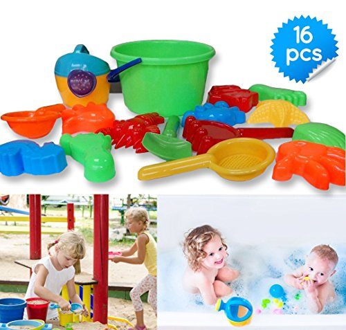 Toys Icon 16-Piece Sand Bucket Baby Beach Toys Set with Zippered Bag
