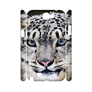 3D {Snow Leopard Series} Samsung Galaxy Note 2 Case Snow Leopard, Girl Design Protective Case Pharrel - White