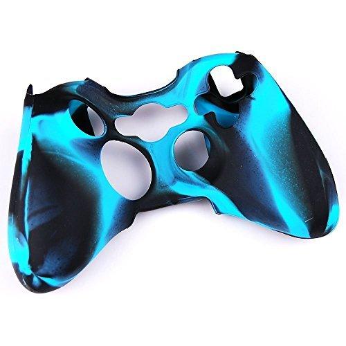 (Factop Xbox360 Controller Camo Black Blue Silicone Protector Skin Case Cover)