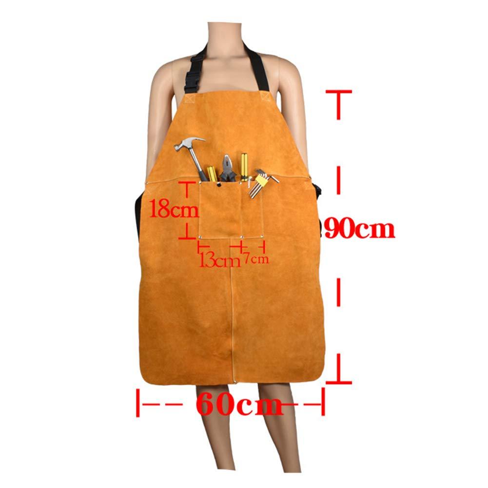 INGHU Schürze Heavy Duty Orange Protective Anti-Scald Verschleißfeste Einstellbare Household Unisex Mit Tasche Verdicken Durable Leather Welding Handwerk & Industrie