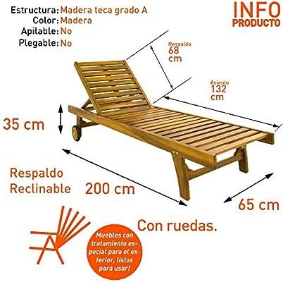 Pack 2 tumbonas para jardín con Ruedas, Reclinable, Madera Teca Grado A, Tamaño: 65x200x35 cm, Tratamiento al Agua aplicado: Amazon.es: Jardín