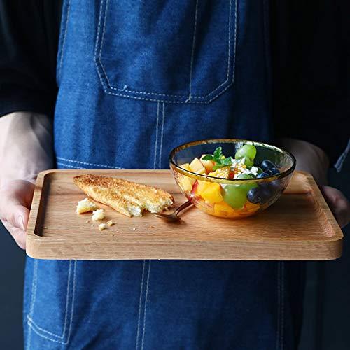 Tea Tray Western Bread Board Breakfast Oak Tray Storage Tray Dessert Cheese Pizza Fruit Plate (Size : 30x20x2cm) ()