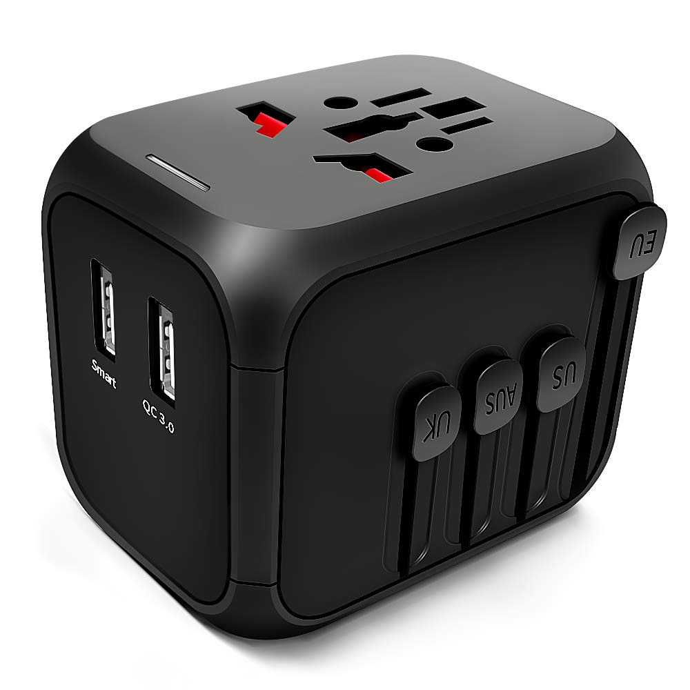1 Type C Charging Ports for USA UK AU European 200 Countries(Black/&Blue) All-in-One Worldwide Travel Charger Power Plug Adapter with 3 USB Universal Travel Adapter,International Power Adapter
