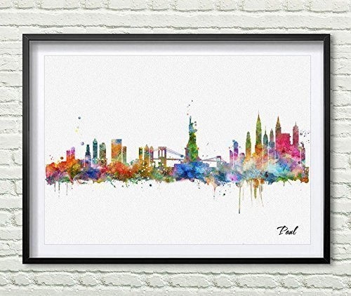 Nyc Art (New York city wall hanging map skyline art print New York skyline city Watercolor art print NYC wall print poster painting home decor P173)