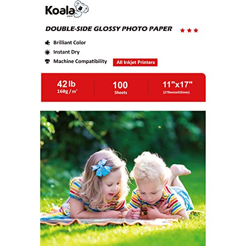 Inkjet Glossy Double Paper Sided - Koala Double Sided Glossy Photo Paper 11''x17''160gsm 100 Sheets/pack Compatible with All Inkjet Printer