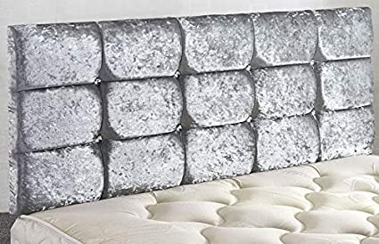 Spring Well Cube Diamante Crushed Velvet Headboard in 20 /& 30 Height 3ft 20 Height, Cream