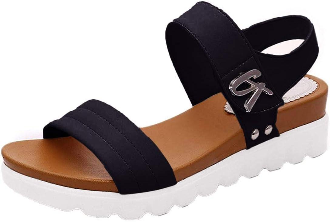 Flat Sandals Women Comfortable Platform Summer Womens Shoes Ladies Summer Sandals,Black,6