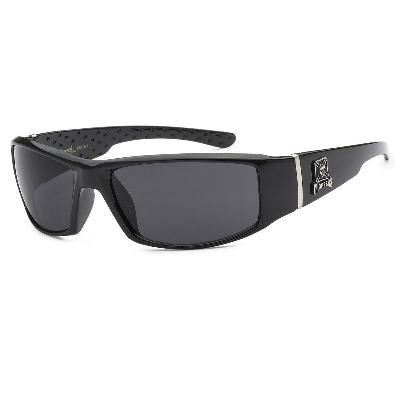 Mens Choppers Sunglasses Biker Motorcycle Logos Cross Skull All Black
