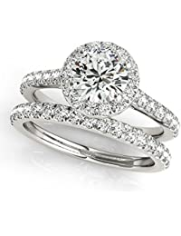 2899e41ef5b 0.75 Carat Halo Round Cut Antique Diamond Bridal Ring And Band Set For Women