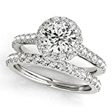 MauliJewels 0.75 Ct. Diamond Engagement Bridal Ring Set 14K Solid White Gold