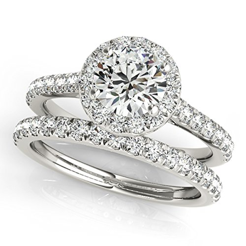 MauliJewels 0.75 Ct. Diamond Engagement Bridal Ring Set 14K Solid White Gold ()