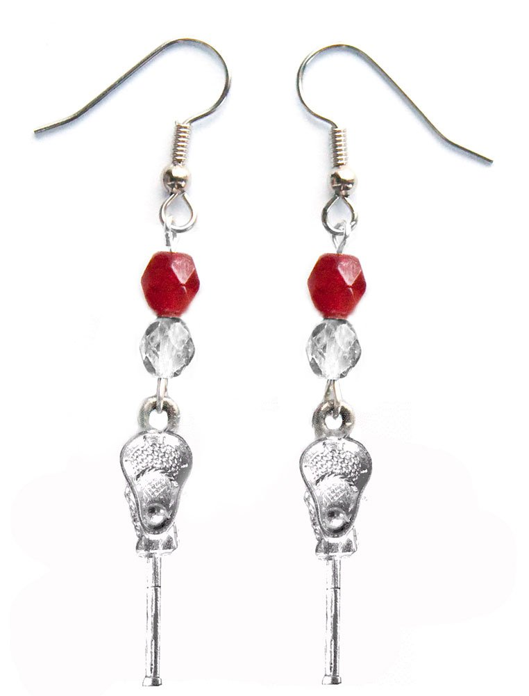 ''Lacrosse Stick & Ball'' Lacrosse Earrings (Team Colors Crimson & Silver)