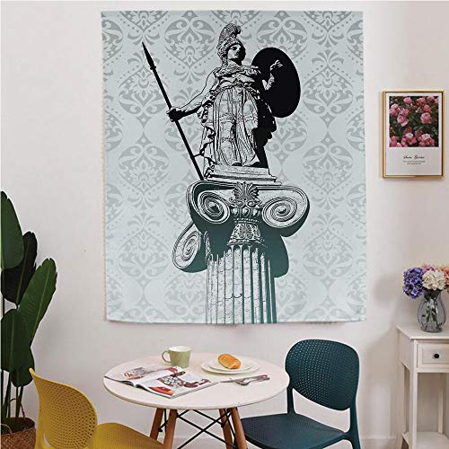 Sculptures Decor Blackout Window curtain,Free Punching Magic Stickers Curtain,Statue of Athena on Pillar Baroque Background Ancient Greek Mythology Hellenistic Monument,for Living Room,study, kitchen,