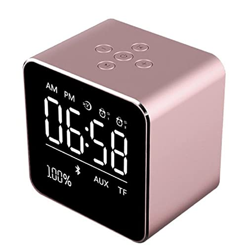Wireless Bluetooth Speakers,Veeki Metal Portable Speakers With LCD Display Screen 2 sets of Alarm Clock 10h Playtime Mini Cube Subwoofer for iPhone 6 / 6s / 7 / 7 Plus / iPad Indoor Outdoor etc.(Rose Gold)