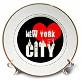 3dRose Alexis Design - American Cities - Decorative text New York City, red heart, shining windows on black - 8 inch Porcelain Plate (cp_286451_1)