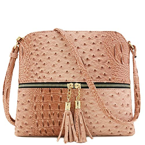 (Faux Ostrich Skin Medium Crossbody Bag with Tassel Blush)
