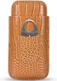 UsefulThingy Cigar Case Travel - Cutter Included - Leather Color Light Brown, Large Size